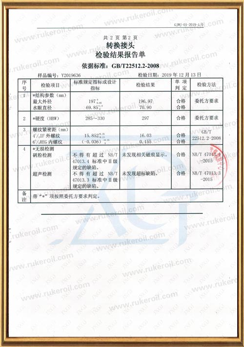 Oil & Gas Industry Downhole Tools Quality Inspection Supervision Center Inspection Report