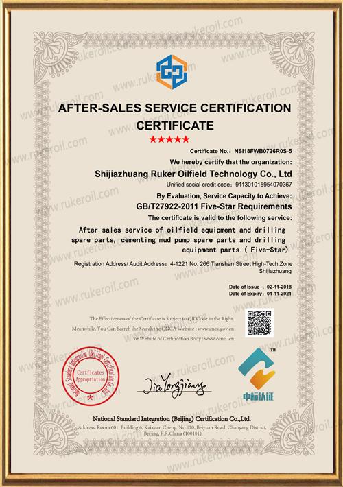 After-sales service certification